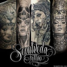 Tattoo Artist : Sepulveda Tattoo - BrownPride.com Photo Gallery (BP) #geishatattoos #geisha #tattoos #face Chicano Style Tattoo, Chicano Tattoos, Body Art Tattoos, Chicano Art, Symbol Tattoos, Hand Tattoos, Tatoos, Mayan Tattoos, Mexican Art Tattoos