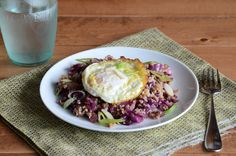 Fried Rice-Style Red Cabbage & Bulgur Wheat With Fried Egg