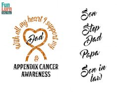 Appendix Cancer Awareness SVG Support heart Ribbon by FunLurnSVG