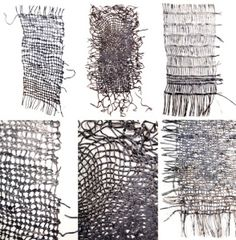 Sue Lawty weaving with metal.