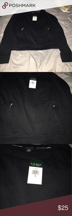 Ralph Lauren athletic sweat shirt Black Ralph Lauren sweatshirt new with tags has cute zippers is a short sweatshirt ralph lauren Tops Sweatshirts & Hoodies