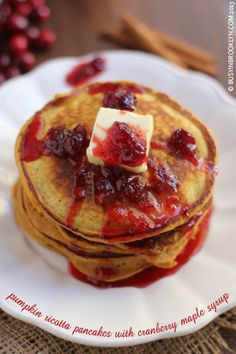 Pumpkin Ricotta Pancakes with Cranberry Maple Syrup.Perfect for Thanksgivukkah, Chanukah, Thanksgiving, or a chilly autumn morning!