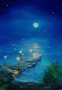 """Velichko RV """"Moonlit Path"""" attendre quelqu'un qui ne viendra plus (ou une personne très spéciale morte ou qui ne rencontre l'autre que la nuit et sur ce pont)"""