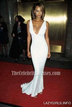 Tyra Banks Sexy White Deep V-neck Evening Dress Prom Gown Red Carpet Celebrity Dresses