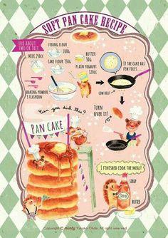 Soft pancake! #foodillustration #food #foodart #recipeillustration #recipe #pancake #breakfast #healthybreakfast Best Breakfast, Breakfast Recipes, Dessert Recipes, Pancake Breakfast, Cute Food, Yummy Food, Story Starter, Recipe Drawing, Food Painting