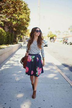 Fashion Women's: Spring, Summer, Early Fall Outfit Style (Long Sleeve White and Navy Striped Boatneck Top, Navy Blue and Pink Floral Skirt, Brown Leather Ankle Booties, Brown Leather Handbag, Black Sunglasses) | #Fashion #SpringFashion #SummerFashion #FallFashion #WomensFashion