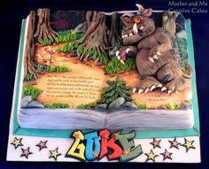 Amazing Gruffalo Book Cake made by Mother and Me Creative Cakes Gorgeous Cakes, Amazing Cakes, Open Book Cakes, Gruffalo Party, Painted Cakes, Decorated Cakes, Character Cakes, Novelty Cakes, Cakes For Boys
