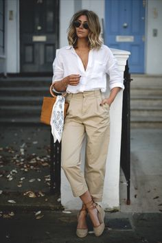 Emma Hill wears white linen shirt, beige chinos, natural wedge espadrilles, tan suede Simon miller bonsai bag with ring handle, chic spring outfit
