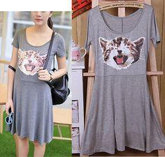 Womens-Girls-Modal-Cotton-Lovely-Kitty-Cat-Print-Short-Sleeve-Summer-Mini-Dress