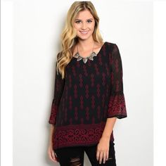 Romantic Ruby & Black Blouse Romantic flowy blouse with bell sleeves. Adorable abstract print. Made of a chiffon material size Medium Tops Blouses