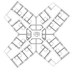 Atelier Abraha Achermann | Viviendas ROMANSHORN |  2012 U Shaped House Plans, U Shaped Houses, Arch Architecture, Architecture Drawings, Residential Building Plan, Senior Citizen Housing, Apartment Plans, Modular Design, Shadowrun