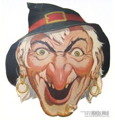 Free Vintage Witch Cut Out Printable Mask #free #printable #halloween. I REMEMBER THIS FROM MY CHILDHOOD. CB
