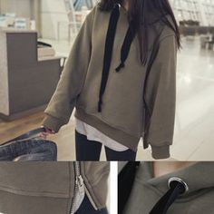 Drawstring-Hooded Zipped-Hem Pullover from #YesStyle <3 45SEVEN YesStyle.com