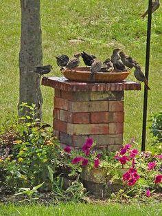 Brick Projects, Diy Garden Projects, Outdoor Projects, Outdoor Decor, Outdoor Ideas, Outdoor Yoga, Outdoor Lighting, Potager Bio, Diy Bird Bath