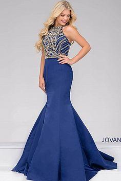 Navy Beaded Bodice Mermaid Prom Dress 49501