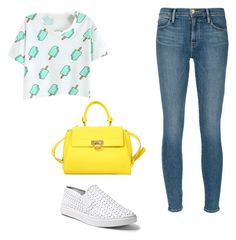 """""""Neon noons"""" by danielle09-1 on Polyvore featuring Frame Denim, Steve Madden and Salvatore Ferragamo"""