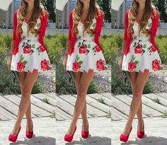 Love This! What do you think? dress high heels coat red roses pretty