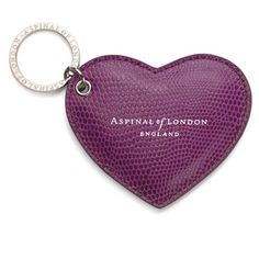 Aspinal of London Heart Keyring In Purple Lizard ($46) ❤ liked on Polyvore featuring accessories, keychains, purple, aspinal of london, heart key chain, heart shaped key ring, ring key chain and key chain rings