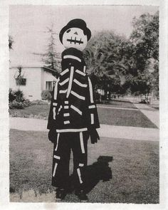 Tim Burton showing off a Halloween costume that was handmade by his mother, 1967.