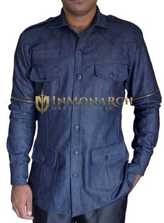 This denim blue safari thick cotton mens shirt is made with two buttoned chest pockets flanked by two waist pockets. Casual Wear For Men, Stylish Mens Outfits, Stylish Shirts, Casual Shirts For Men, Safari Shirt, Safari Jacket, Nigerian Men Fashion, African Men Fashion, Boy Scout Shirt