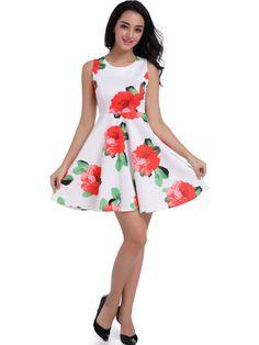 Round Neck Floral Printed Lovely Skater Dress