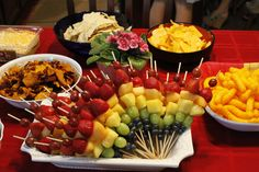 bridal shower country theme fruit kabobs