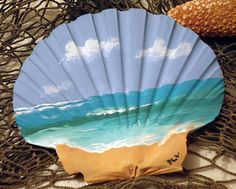 Hand Painted Beach scene on LARGE scallop shell