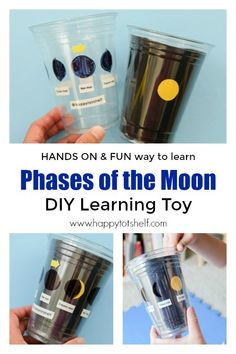 Learn about Phases of the Moon with this DIY Learning Toy. #spacetheme #diylearningtoys #funlearningathome