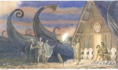 The Embassy To Achilles. 'Odysseus, Ajax, and old wise Phoenix...found Achilles...playing idly on his lyre...and Patroclus at a little distance, polishing his helmet and listening with a troubled face to the music he made.' - R. Sutcliff (Alan Lee/Homer's Iliad/user: Aethon)