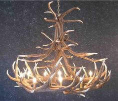 Elk Antler Chandelier with 12 Antlers - Great idea for your log cabin decor. I could use white tail dear horns. since there are no ELK in Florida. Antler Lights, Antler Chandelier, Chandelier For Sale, Rustic Chandelier, Rustic Lighting, Chandeliers, Cabin Lighting, House Lighting, Antler Crafts