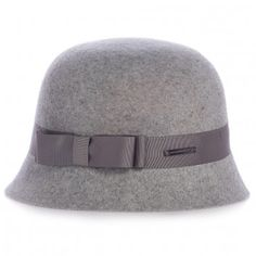 Burberry Girls Grey Wool Hat With Bow | Childrensalon