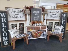 Booth Ideas, Display Ideas, Hobby Lobby Fall Decor, Hobby Lobby Furniture, Foyer Ideas, Thankful And Blessed, Buffalo Plaid, Home Living Room, Farm House