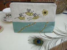 Large Handmade Cosmetic Makeup Bag Purse Washbag Bee applique Teal Fabric Linen