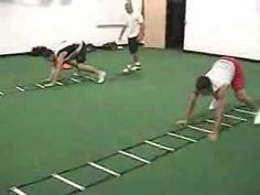 30 Agility Ladder Drills - Beginner, Intermediate and Advanced Variations Agility Workouts, Agility Training, Speed Training, Agility Ladder Drills, Ladder Workout, Crossfit Kids, Vertical Jump Training, Hockey Training, Volleyball Workouts