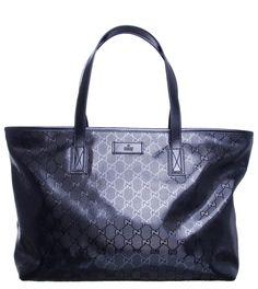 Gucci Black GG Imprime Medium Tote Bag