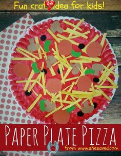 Paper Plate Pizza Craft Idea - SheSaved® Looking for a fun craft for the kids? This Paper Plate Pizza Craft Idea is perfect for little hands and would make a wonderful preschool or kindergarten activity!<br> This Paper Plate Pizza Craft Idea is perfect for little hands and is a wonderful craft for pre-k or kindergarten classrooms! Paper Plate Crafts For Kids, Spring Crafts For Kids, Easy Crafts For Kids, Craft Activities For Kids, Crafts To Do, Art For Kids, Craft Stick Crafts, Creative Crafts, Crafts 2 Year Old