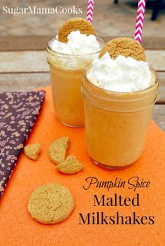 Pumpkin Spice Malted Milkshakes