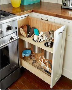 Modified spice cabinet for less countertop clutter.