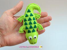 Felt CROCODILE stuffed felt Crocodile magnet or ornament