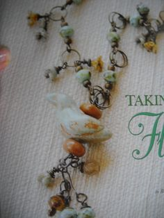 "Handmade clay bird necklace.  ""Taking Flight"" Belle Armoire Jewelry magazine."
