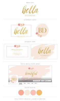 Premade Branding Package Bella  Watercolor by CharmAndGumption