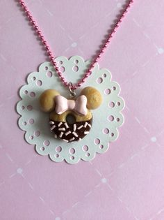 Minnie Inspired Doughnut Charm Necklace, Mouse Doughnut Charm, Kawaii Mouse Doughnut, Kawaii Jewelry, Minnie Donut on Etsy, $10.00