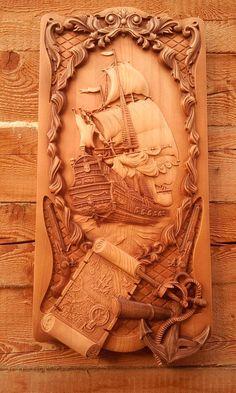"3d STL Model for CNC  Router Engraver Carving Machine Relief Artcam Aspire ""Ship Map Anchor"" CNC files"