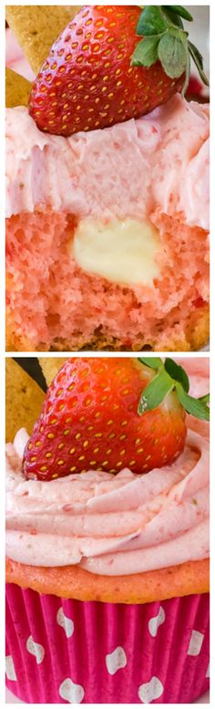 Soft Strawberry Cheesecake Cupcakes ~ A creamy cheesecake center and fresh homemade strawberry frosting... They are always a hit!