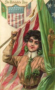 Irish American pride, vintage St. Patrick's Day card graphic