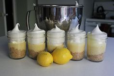 Lemon Meringue Pie In A Jar! I wish I'd thought of these before my Dessert In A Jar buffet. :-)