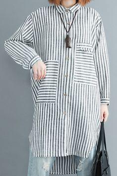 8252ad7ee5d7 Italian black white striped linen clothes For Women plus size Shape side  open Vestidos De Lino spring Dress