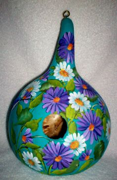 Daisies, Dahlias, Hummingbirds Teal Hand Painted Gourd birdhouse Garden Yard/Art