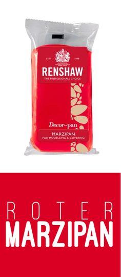 Roter Marzipan von Renshaw zum Eindecken Ihrer Kuchen und Torten. Oder zum Modellieren von Figuren. #Marzipan