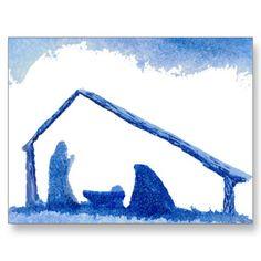 Blue Silhouette Nativity Scene Postcards                                                                                                                                                                                 Más